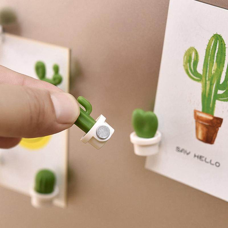 Sys 6 Pieces Fridge Magnets Cute Succulent Plant Magnet Button Cactus Refrigerator Message Stickers By Saiyousun.