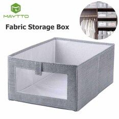 Maytto Hộp lưu trữ vải Hộp lưu trữ tủ quần áo Phân loại hộp lưu trữ Hộp lưu trữ không nắp dung tích lớn có thể gập lại Fabric Storage Box Wardrobe Cotton Linen Cloth Art Storage Box