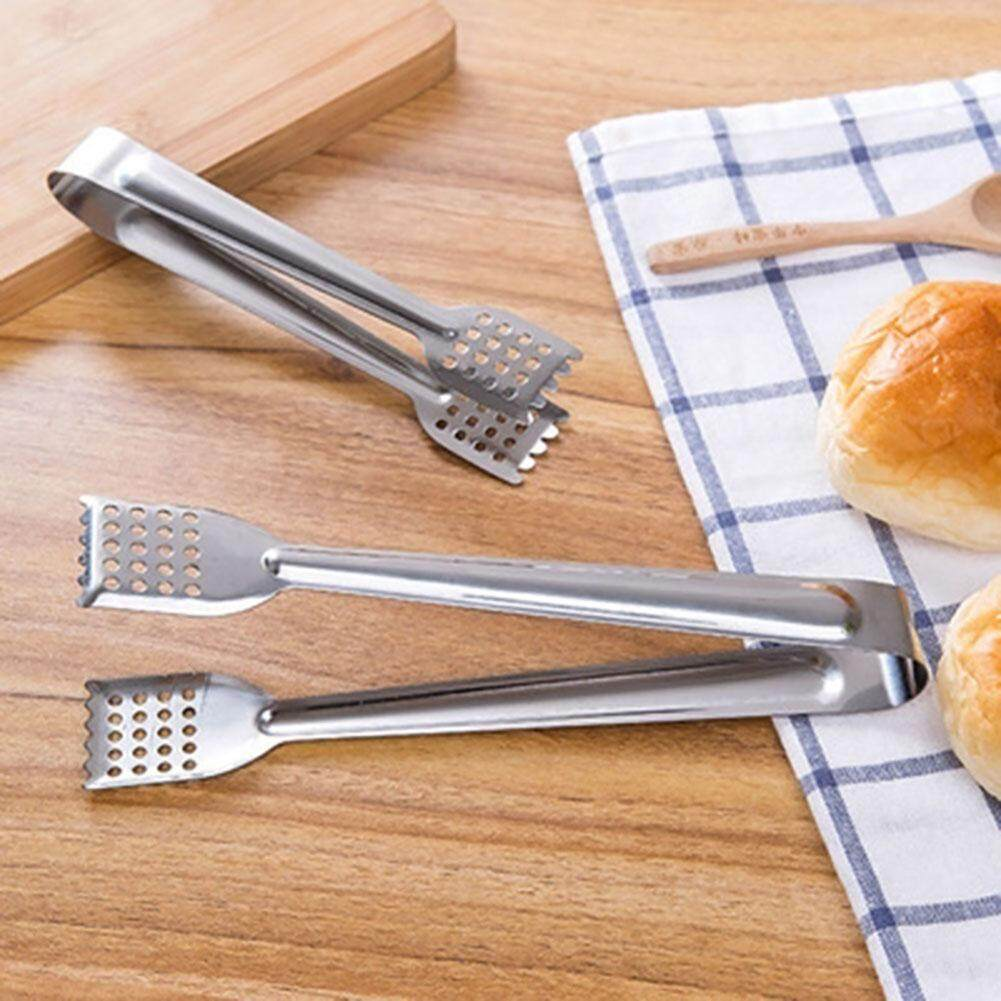 2pcs Stainless Steel Hollow Food Clips For Bbq Cooking Salad Kitchen Tool Set