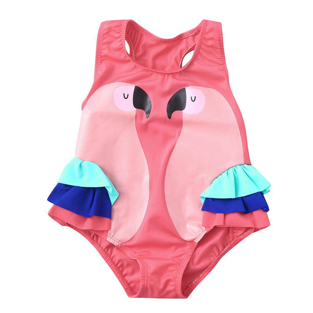 8838193c3c 2019 swimwear Toddler Baby Kids Girl Ruffles Bird Swimwear Swimsuit Beach  Romper Clothes