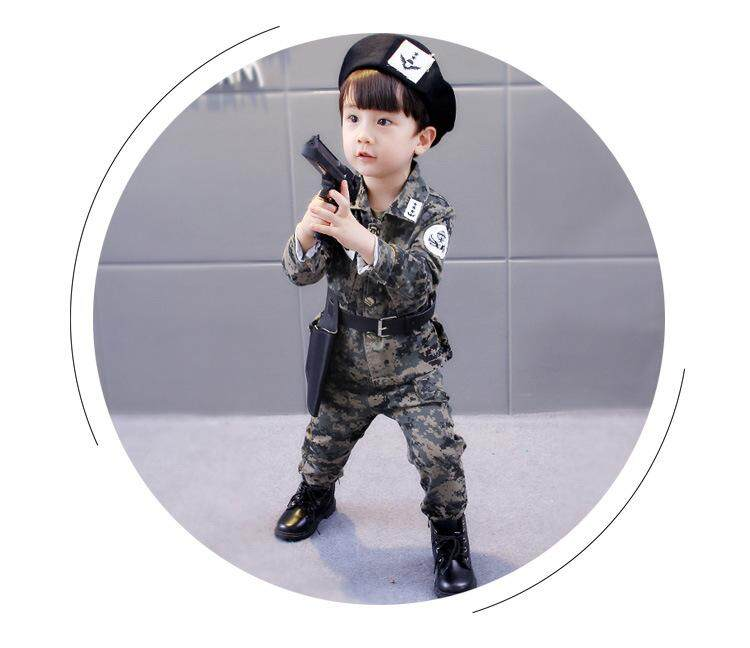 Kids Camouflage Army Uniform Kids Boys Clothing Set 4PCs Teenager Boys Jackets Song Joong Ki Cosplay Party Military Costumes