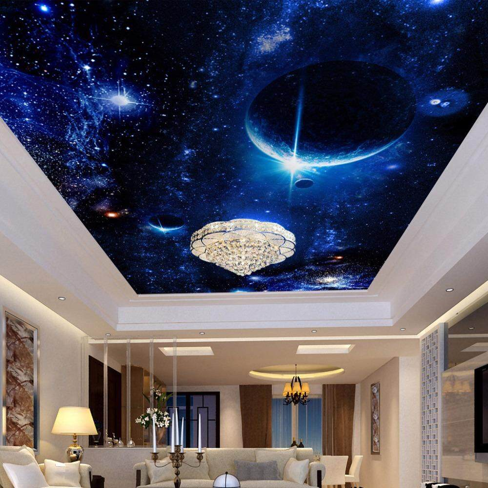 3D Wallpaper Vinyl Wall Sticker Ceiling Mural Star Planet Universe Space Wall Mural Living Room Bedroom Luxury Decor Wall paper