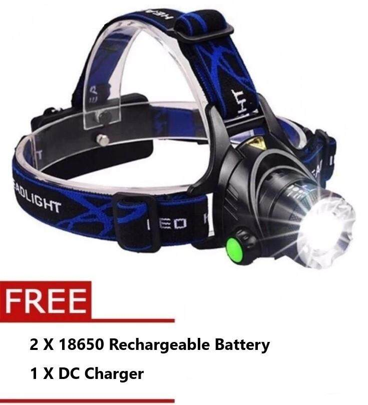 Rechargeable Camping Led Headlight Cree T6 Headlamp Torch Flashlight *free Battery & Charger* By Fly Automart.