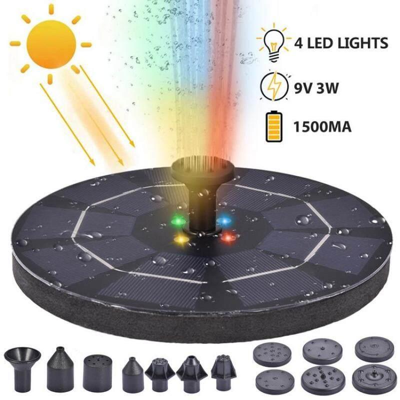 9V3W Năng Lượng Mặt Trời Bơm Đài Phun Nước Máy Bơm Đài Phun Nước Chạy Bằng Năng Lượng Mặt Trời Có Đèn LED Cầm Tay Cho Bể Bơi Vườn Sân Sau
