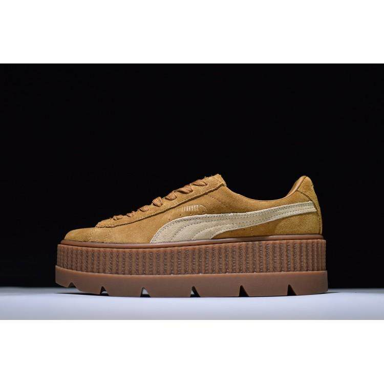 f633e008d290 Puma Rihanna Women s Fenty Suede Cleated Creeper Patent Casual Shoes Brown