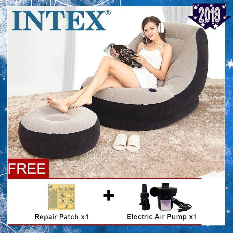 Intex 68564 [np79] Modern Indoor/outdoor Inflatable Ultra Lounge Relaxing Air Chair Single Seat Air Sofa + Foot Rest Lounge With Drink Holder-Premium By Every1.