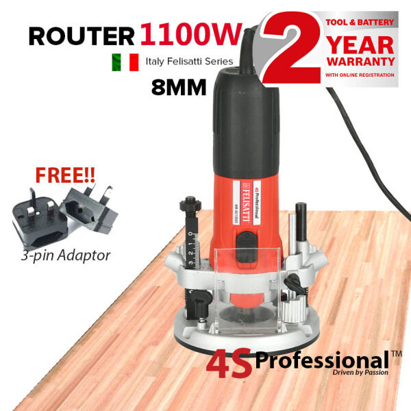 4S Professional Router Trimmer Heavy Duty 1100W 8mm - Italy Trusted Woodworking Series