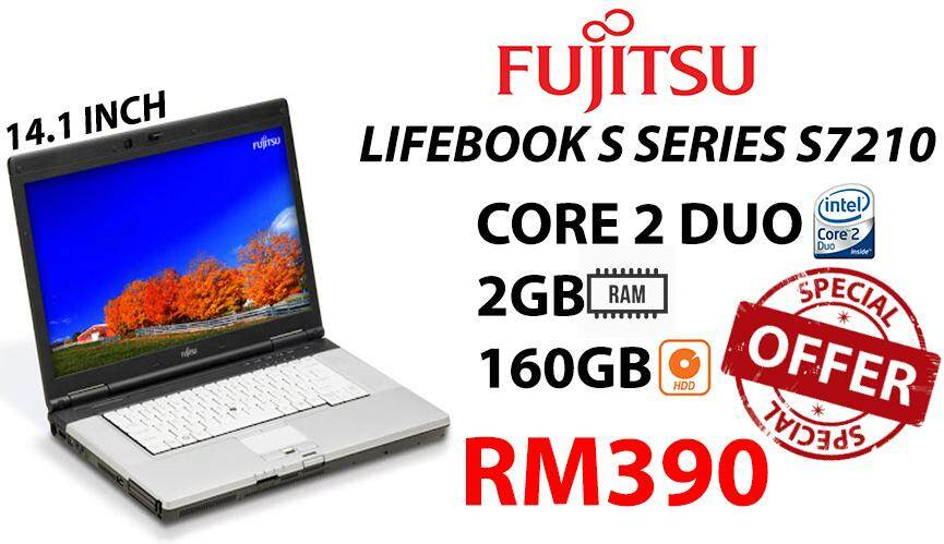 FUJITSU LIFEBOOK S SERIES S7210 CORE 2 DUO 2GB RAM 160GB HDD 14.1 SCREEN INCH Malaysia