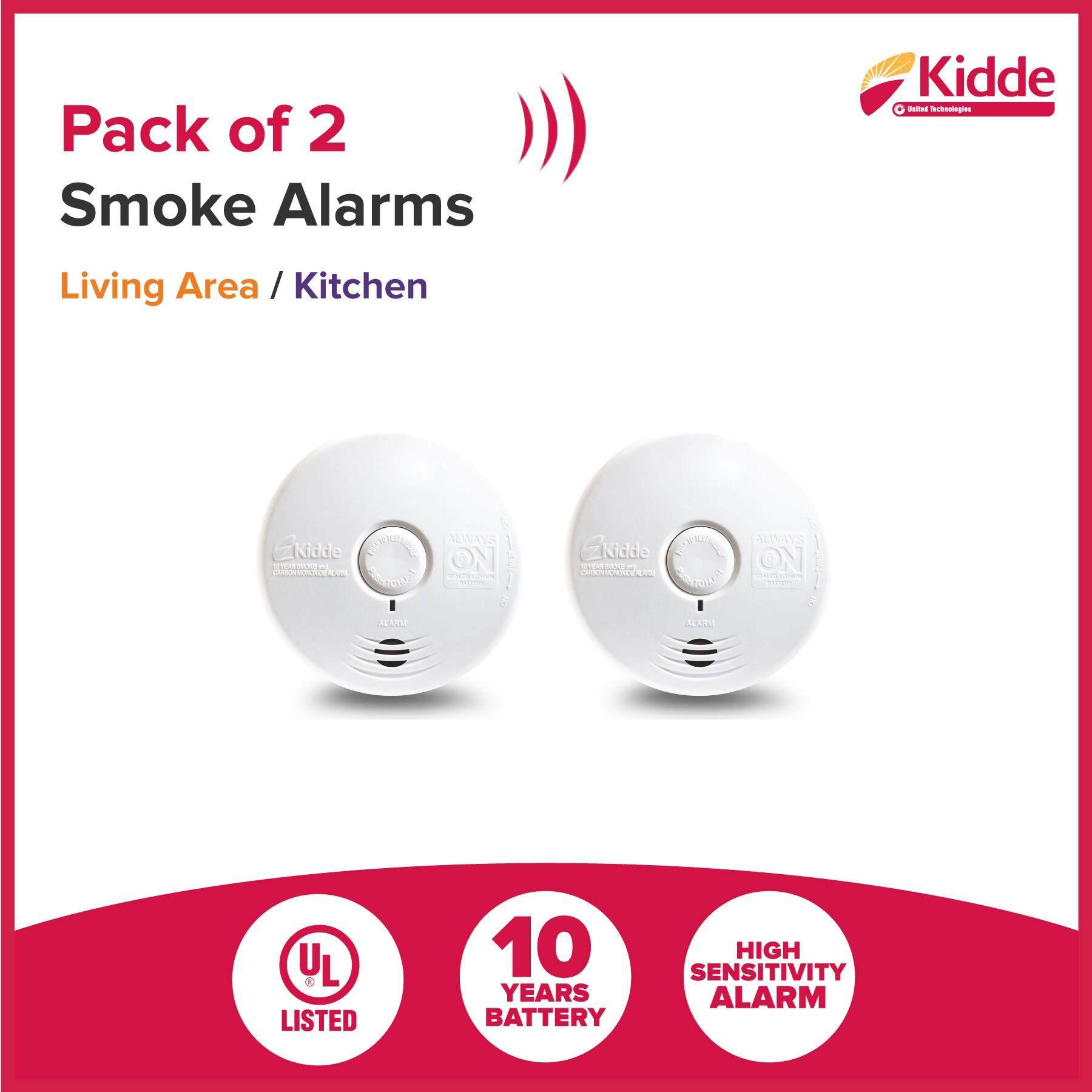 KIDDE Smoke Alarm Detector set (Smoke Alarm + Smoke & CO)  [Pack of 2], 10 Years Battery, UL listed