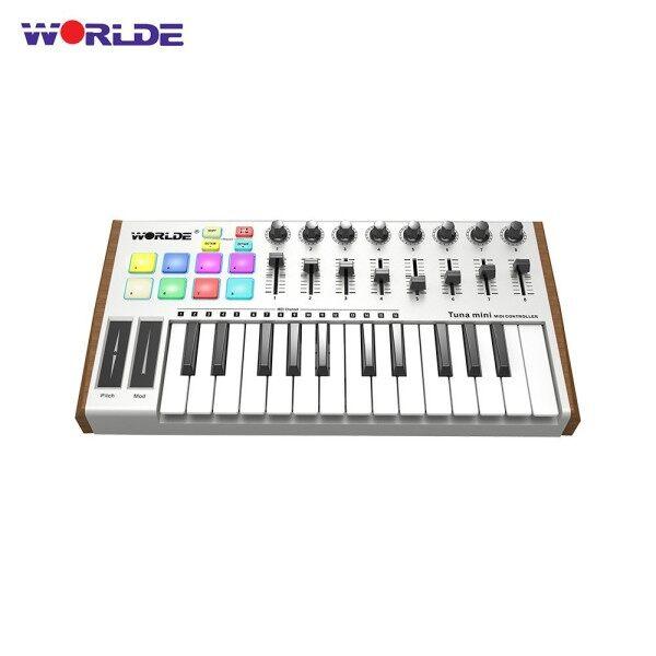 ღ♬YApink WORLDE TUNA MINI Ultra-Portable 25-Key USB MIDI Keyboard Controller 8 RGB Backlit Trigger Pads with 6.35mm Pedal Jack Malaysia