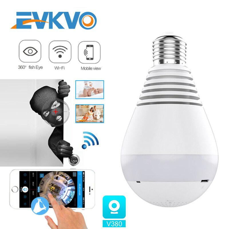 EVKVO-Camera IP Toàn Cảnh V380 PRO Wifi CCTV HD 1080P Bóng Đèn Đèn 360 Độ Giám Sát Em Bé An Ninh Gia Đình Trong Nhà Tiếng Anh
