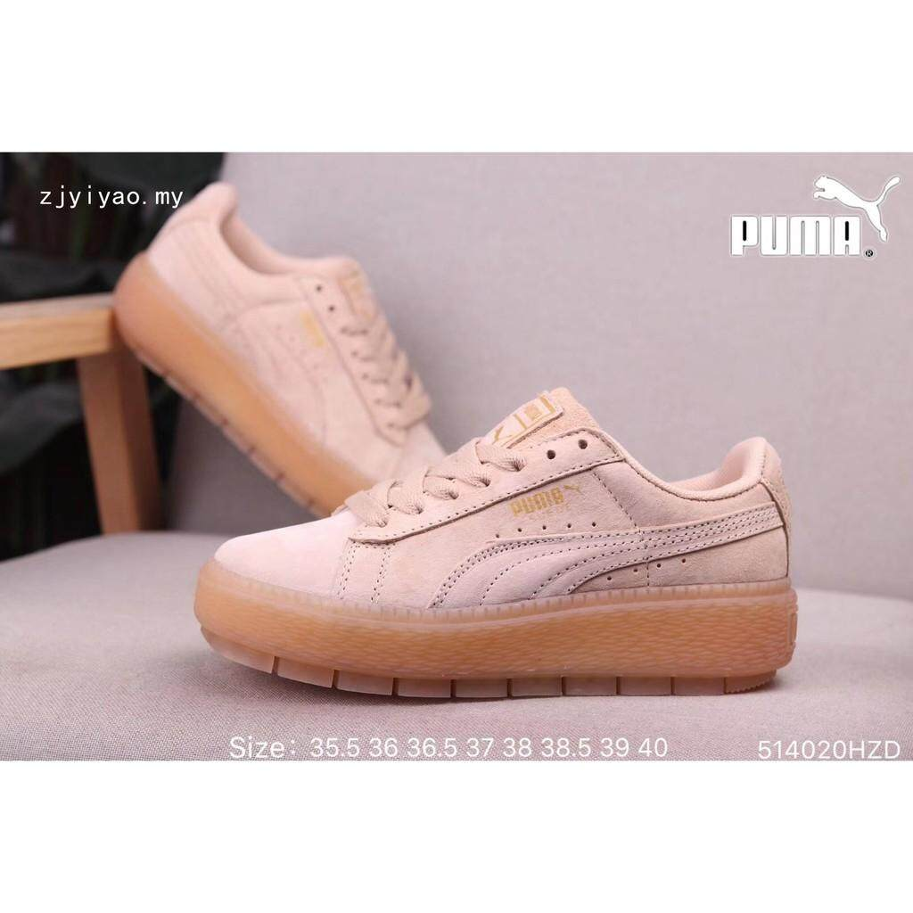 Brand ★★ Pumas Suede Platform Trace KR Wn's Confortable Women's sports snakers shoes