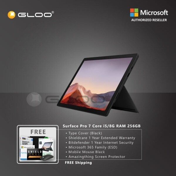 Microsoft Surface Pro 7 Core i5/8G RAM - 256GB Black - PUV-00025 + Type Cover [Choose Color] + Shield Care 1 Year Extended Warranty + Bitdenfender 1 Year Internet Security + Microsoft 365 Family (ESD) + Mobile Mouse Black + Amazingthing Screen Protector Malaysia