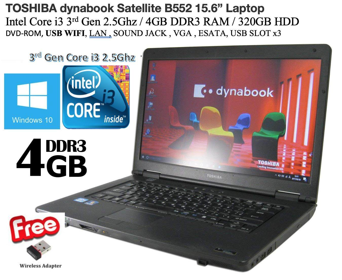 Refurbished Toshiba B552 (i3 3rd Gen 2.5Ghz / 4GB DDR3  320GB HDD / USB WiFi / WIN8Pro (COA) / Win10Pro / Bag ) (3 Month Warranty for Laptop & 1 Month Warranty for Battery and Adaptor) Used Laptop Notebook Malaysia