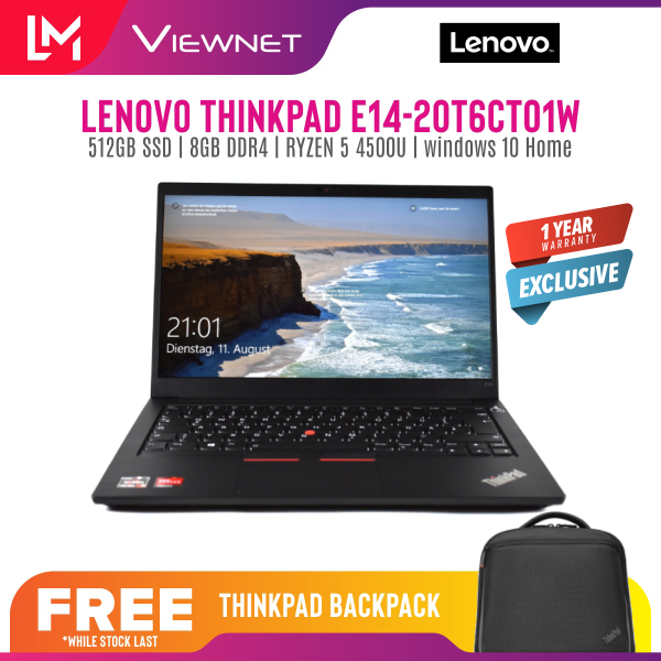 LENOVO THINKPAD E14 20T6CTO1W LAPTOP AMD RYZEN 5 4500U 8GB DDR4 OB 512GB SSD AMD RADEON GRAPHIC 14 FHD 1 YEAR LENOVO WARRANTY Malaysia