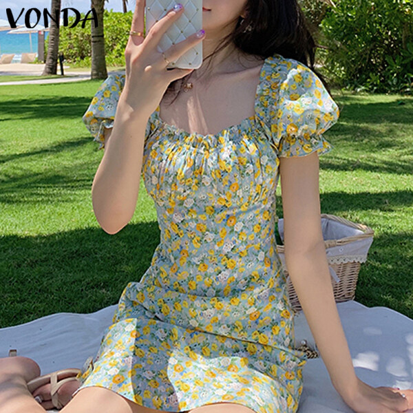 (Phong Cách Hàn Quốc) VONDA Đầm Nữ Xếp Ly Thường Ngày Tay Ngắn Mùa Hè, In Hoa Sundress