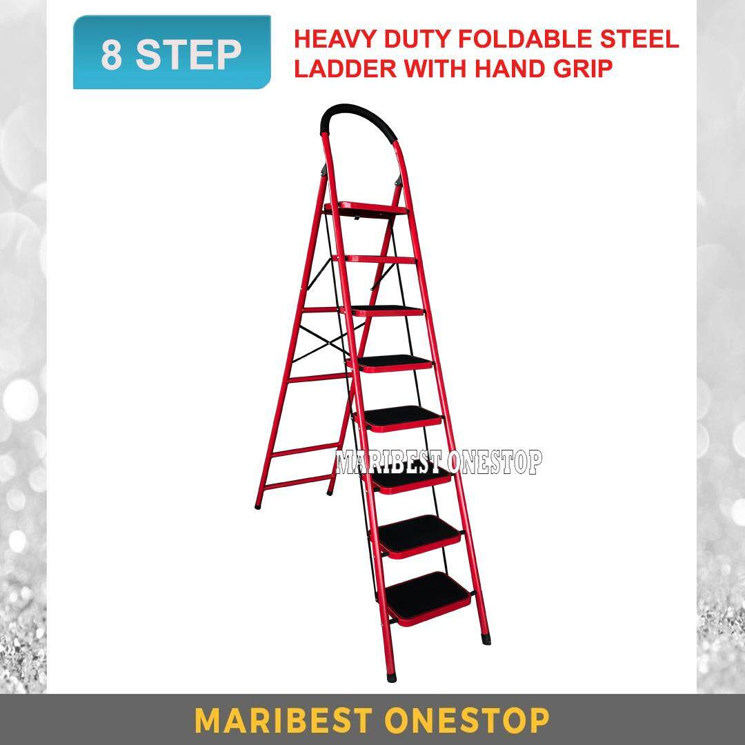 Heavy Duty Foldable 8 Step Stool Ladder with Hand Grip