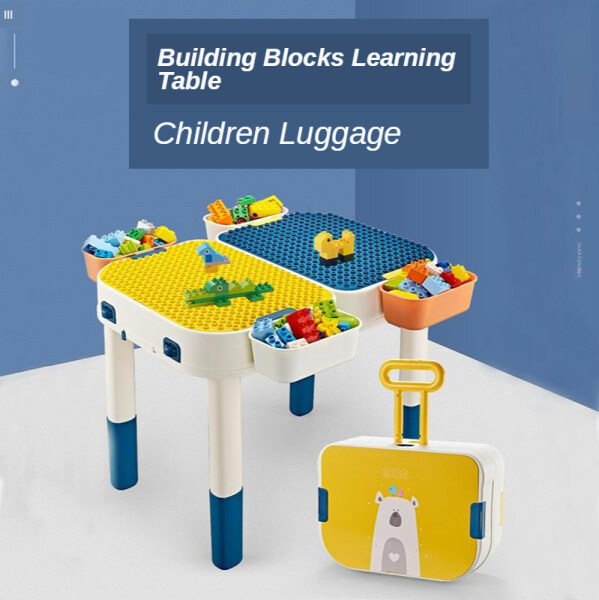 ALPACA Plastic Building Block Learning Table And Chair With Storage Box Children Study Desk Kids Playing Tables Furniture Set