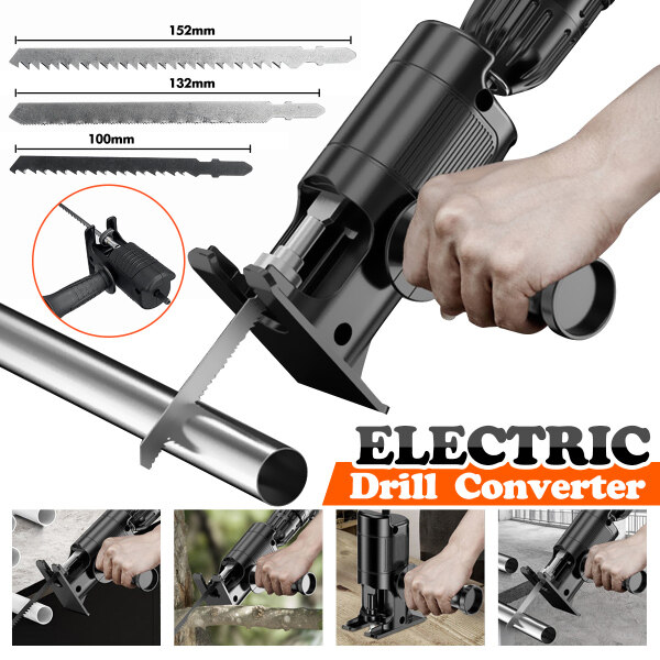 【500+ Sold in 1 Month】Electric Drill Converter Electric Reciprocating Saw Adapter for Wood PVC Metal Cutting +3 Saw Blades Free Gift