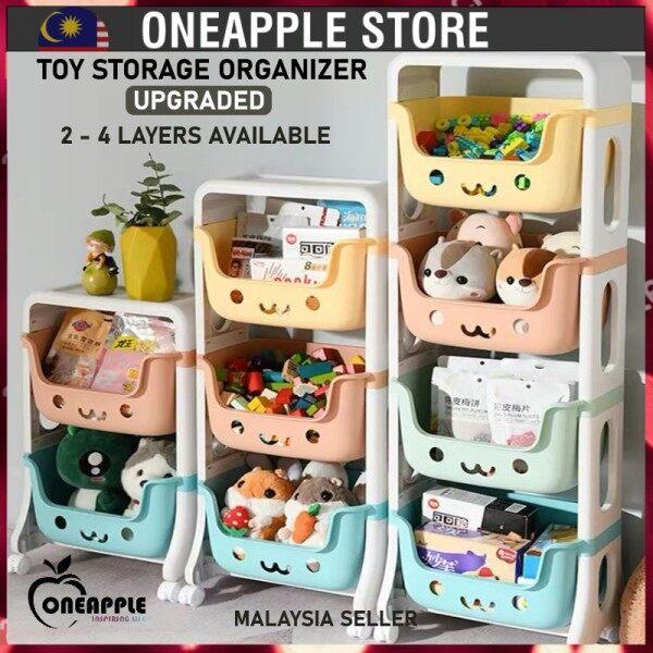 □  NEW 2 - 3 - 4 Tier Trolley Kids Toy Storage Rack Multi-layer Organizer Storage Toys Rack Rak Mainan Kanak Troli Mainan