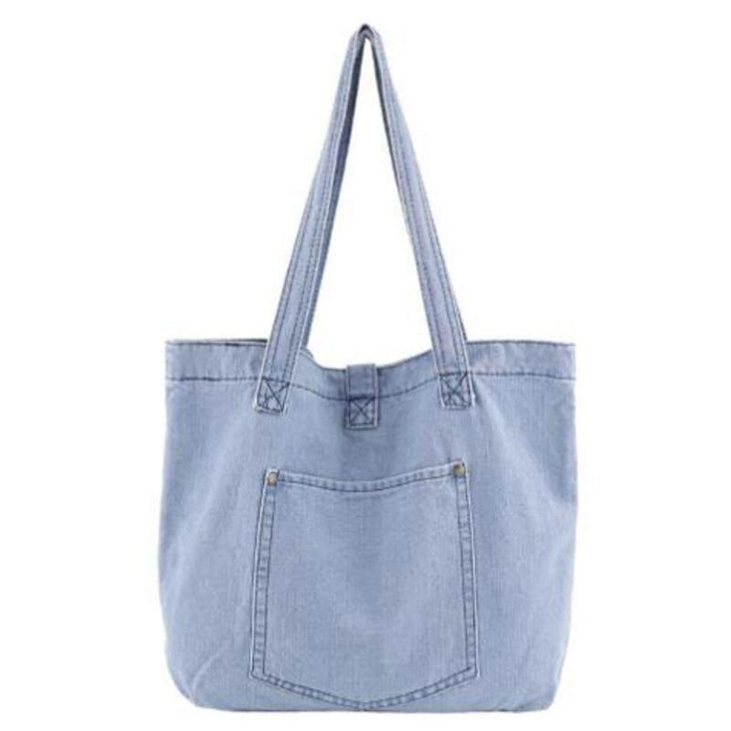 New Denim Handbag Casual Wild Fashion Style Handbag Shopping Bag Light Blue