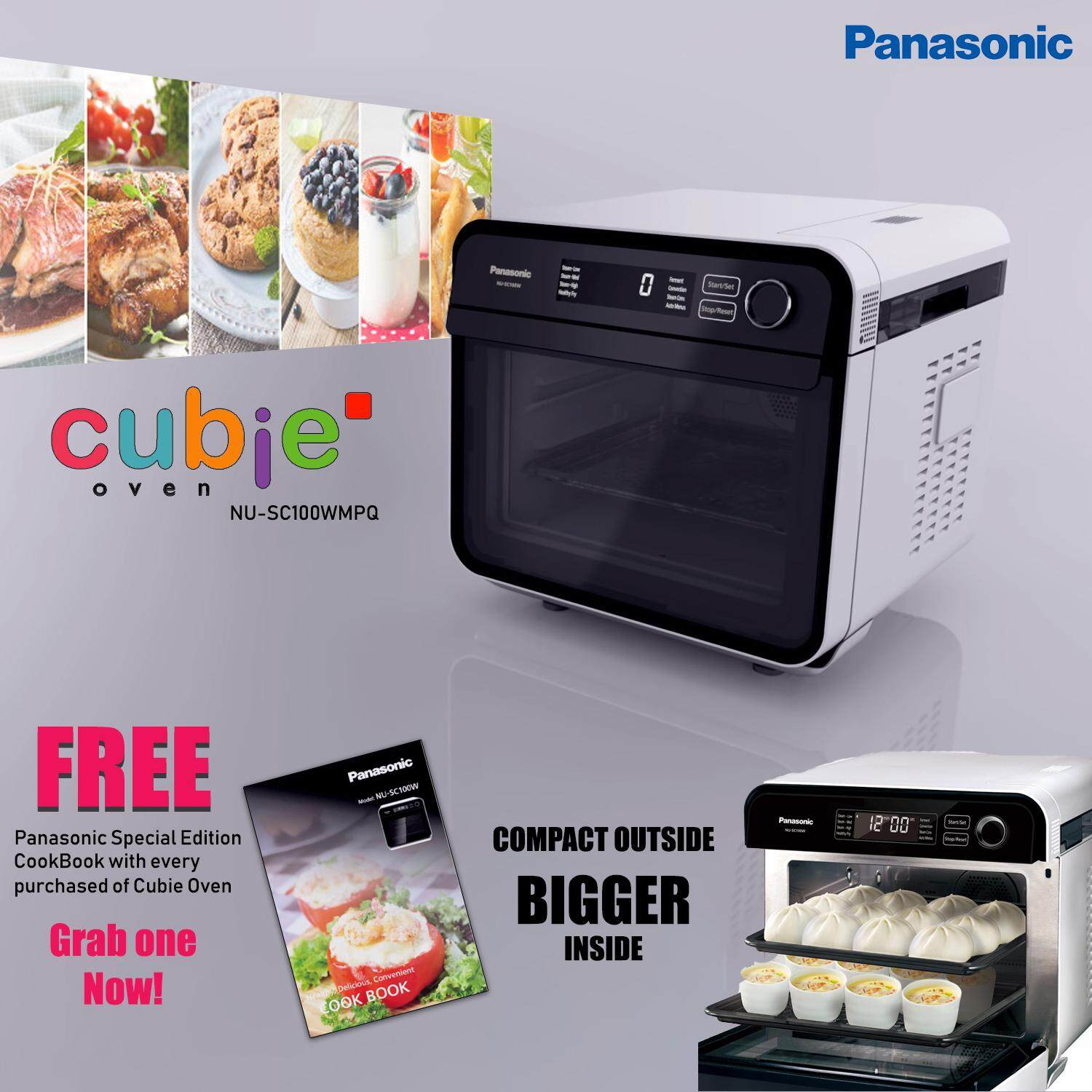Panasonic Cubie Steam Convection Oven NU-SC100W (White) [FREE Limited Edition Panasonic Cooking Book]