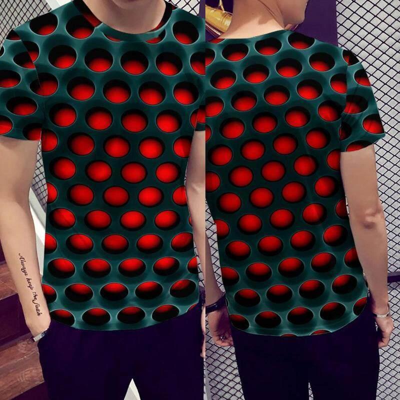 Men/'s Print 3D Geometry Fake Two Piece Inkjet Graphic Print Short Sleeve T-Shirt