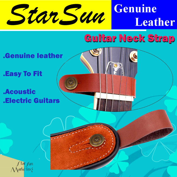 Guitar Head-stock Strap Tie Leather Guitar Neck Strap Lock Guitar Accessories Malaysia