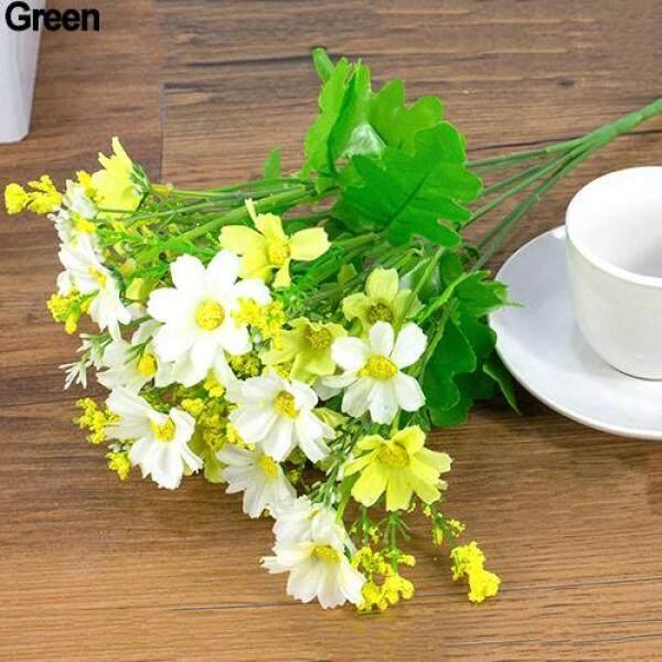 J&E 01 Bó hoa cúc nhân tạo bằng nhựa+vải lụa chiều cao 34cm gồm 7 cành  và 28 bông trang trí tiệc cưới dễ thương giá tốt - INTL