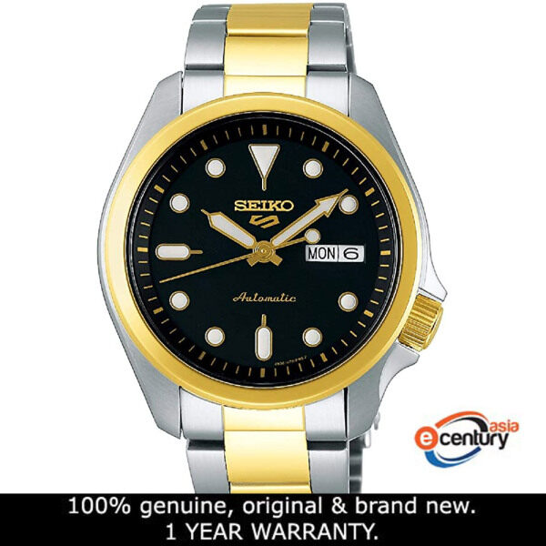 Seiko 5 Sports SRPE60K1 Gents Automatic Day-Date 100M Two-Tone Stainless Steel Bracelet Watch Malaysia