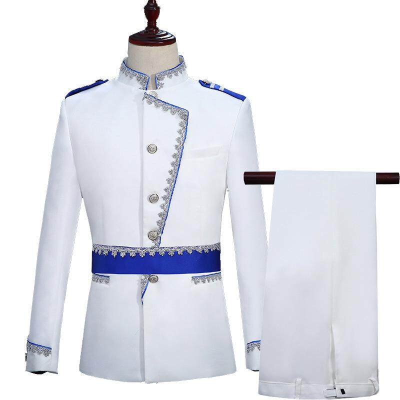 Military Style Court Prince Blazer Men Stage Wedding Groom Slim Fit Suit Jacket Homme Costume