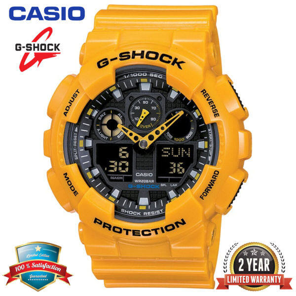 Original G Shock GA100 Men Sport Watch Dual Time Display 200M Water Resistant Shockproof and Waterproof World Time LED Auto Light Sports Wrist Watches with 2 Year Warranty GA-100A-9A Yellow Black (Ready Stock) Malaysia