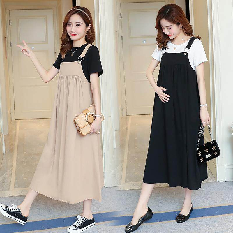 Maternity Dress 2pcs Set Strap Loose Pregnant Womens Dress + Short-Sleeved T-Shirt By Ycitshop.