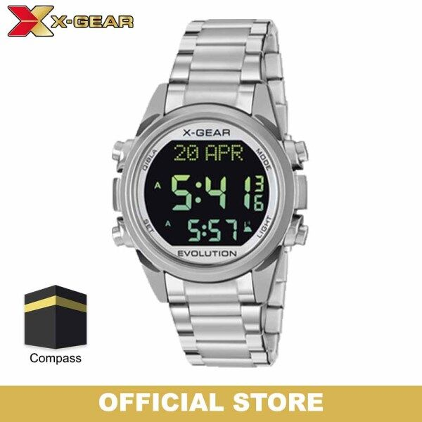 X-GEAR MUKMIN Jam Merkah Man Watch XGQB3882 Islamic Azan Watch Alarm Qibla Direction Digital Stainless Steel Watch For Men | Jam Tangan Lelaki Kiblat Malaysia