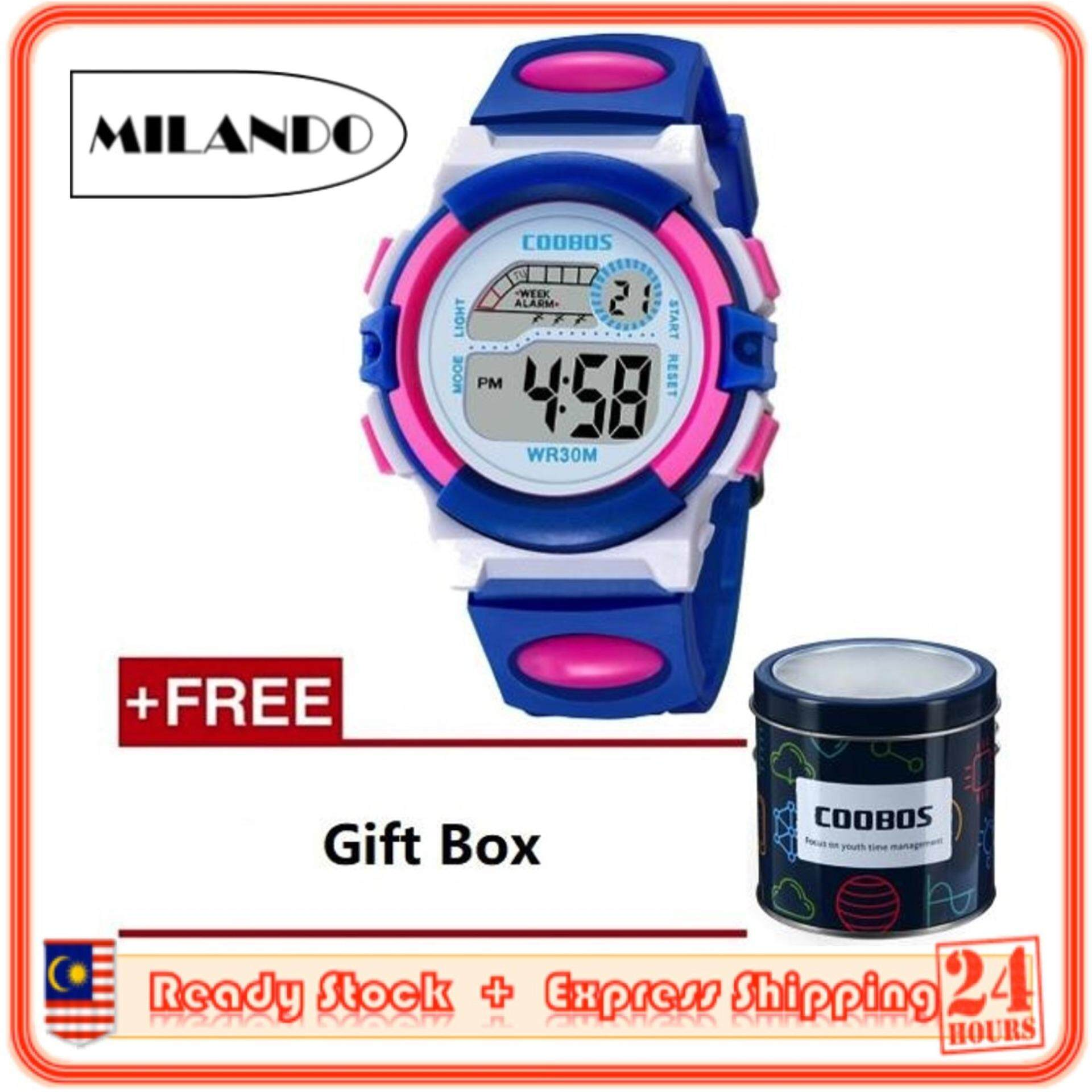 [BDAY SALE] MILANDO Children watches LED Digital Multifunctional 30M Waterproof Outdoor Sports Watch FREE GIFT BOX (Type 1) Malaysia