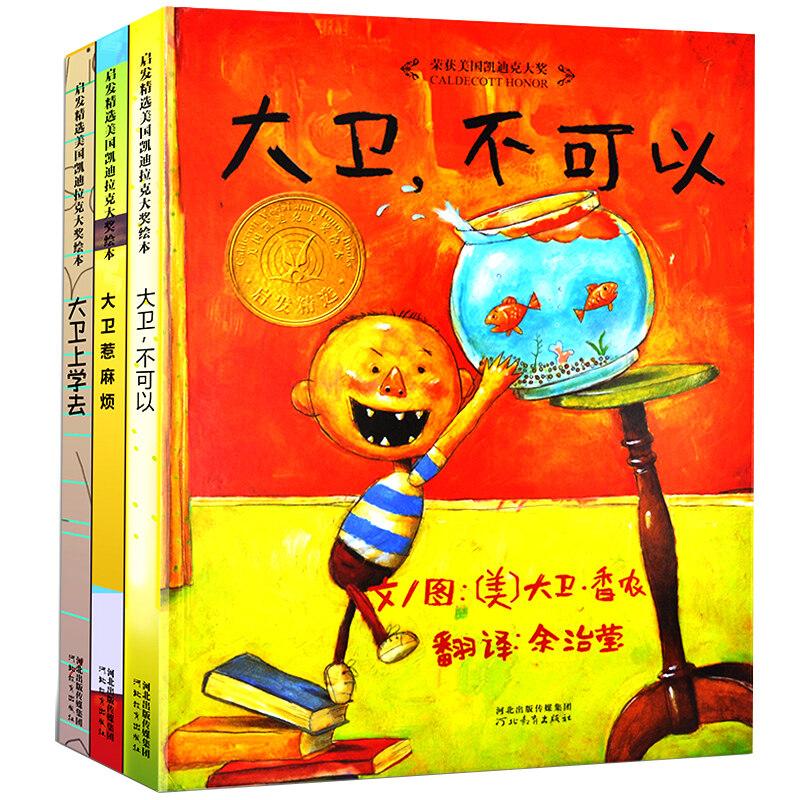 大卫系列绘本 大卫上学去+大卫惹麻烦+大卫不可以 全套3册图书 3 BOOK 1/Set Chinese Story Books Early Childhood Education Kids Child Boy Girl Night Time Stories Telling Storybook Fairy Tale Children Fiction Non-Fiction