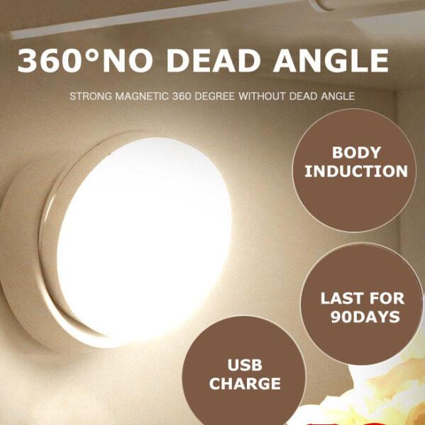 Đèn Ngủ LED Xoay 360 ° Đèn Ngủ Đầu Giường Cảm Ứng Cơ Thể Người Sạc USB