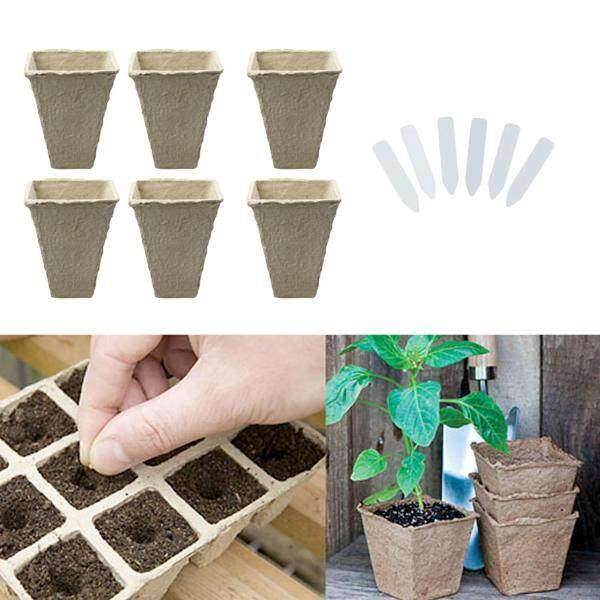 50 PCS Square Peat Pots Plant Seedling Starters Cups Nursery Herb Seed Biodegradable Pots with Label Maker Tags
