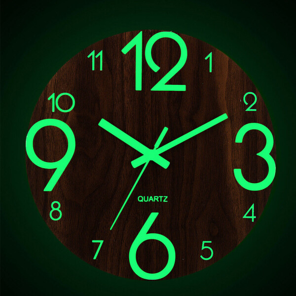 Practical Night Lights Non Ticking Low Noise Battery Operated Hallway Bedroom Office Easy To Read Home Decor Arabic Number Quartz Living Room Luminous Wall Clock