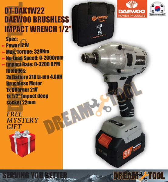 "DT-DAK1W22Daewoo Pro 21V Brushless Cordless Impact Wrench 1/2"" (320NM)"
