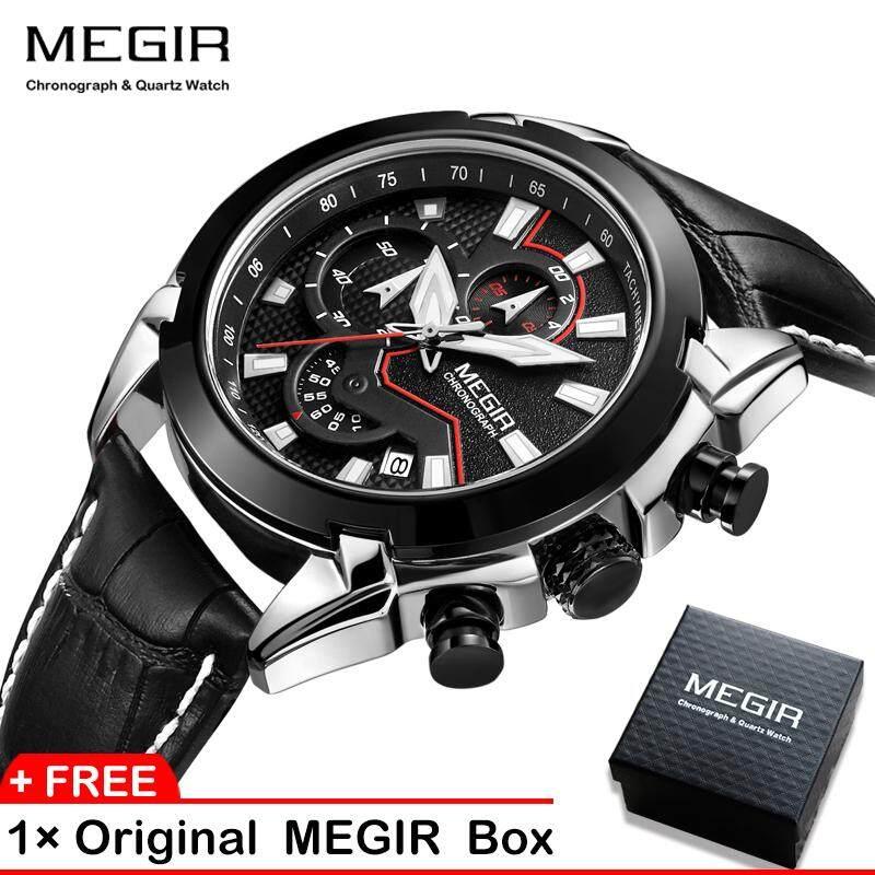 Top Brand  Men Watch MEGIR 2065 Men Quartz Watch  Creative  Leather Chronograph Army Military Sport Watches Clock Malaysia