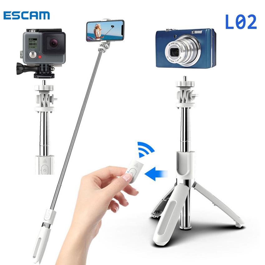 ESCAM Điện Thoại Di Động Điều Khiển Bluetooth Không Dây L02 Gậy Selfie Chân Đế Ba Chân Dài 1 Mét Gậy Selfie Có Chân Máy Camera Cho Vlogging