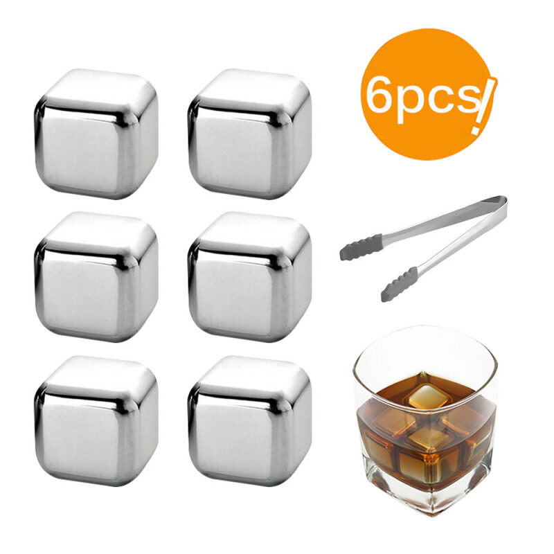 Stainless Steel Ice Cubes Reusable Cooling Stones Whiskey  Keep Cold Drink