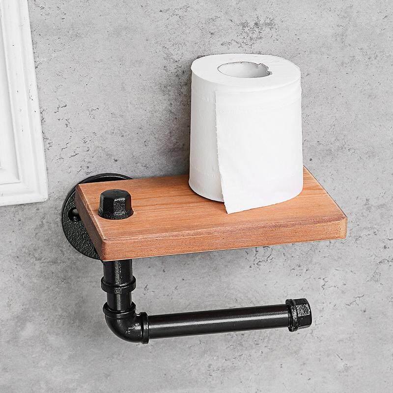 Toilet Paper Roll Holder Rustic Industrial Pipe Bathroom Wood Hanging Wall Shelf