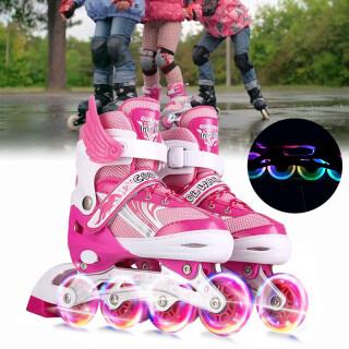 [2020 Mới] Giày Trượt Patin Cho Trẻ Em Có Thể Điều Chỉnh Inline Giày Trượt Giày Trượt, Với Nhấp Nháy Ánh Sáng Lên Bánh Xe, Màu Hồng Màu Xanh thumbnail