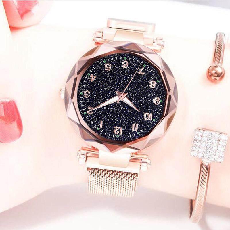 niceEshop Rose Gold Women Watches Starry Sky Magnetic Female Wristwatch Waterproof Clock Malaysia