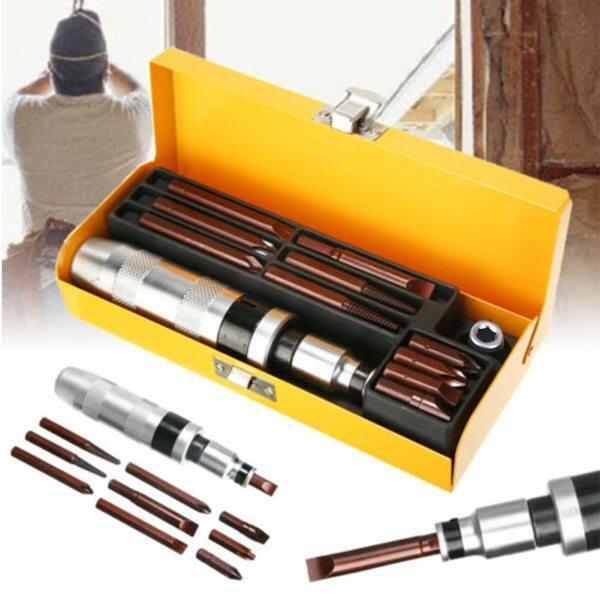 12pcs Screwdriver Set Non Slip Impact Driver Bits Kit Professional Extractor Practical Electric Flat Screw Socket Hand Tool