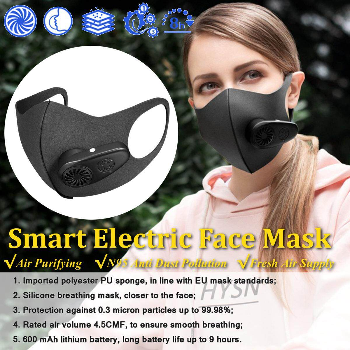 Anti-Fog Pm2.5 Smart Electric Face Mask Air Purifying N95 Anti Dust Pollution Fresh Air Supply By Glimmer.