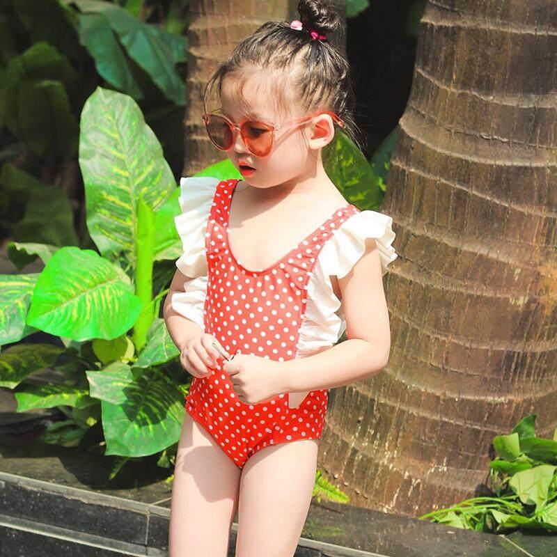 6ae756a08df85 Girls Children Swimwear Sunscreen Quick-drying Wetsuit Kids One-Piece Swimsuit  Wave Point Korean