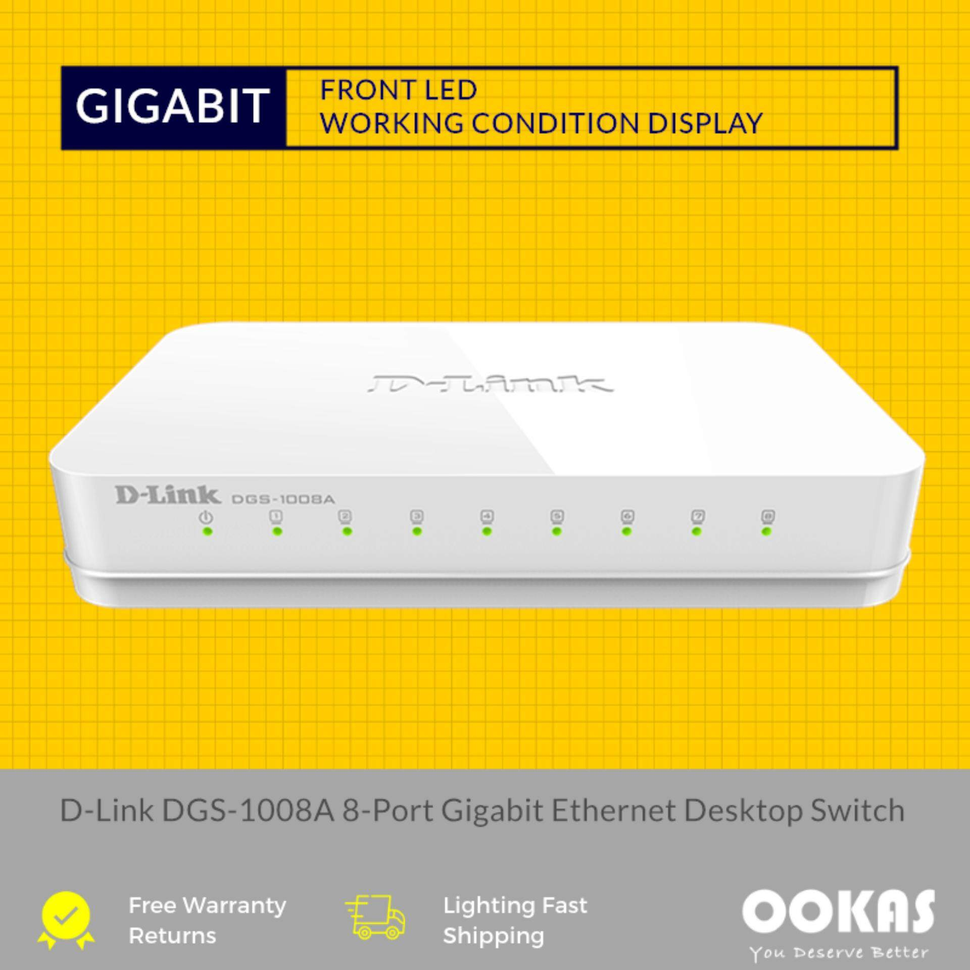 4674b471e D-LINK 8 Port 10 100 1000Mbps Gigabit Desktop Switch DGS-1008A